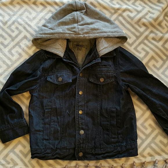 Dkny Other - DKNY Boys Dark Denim Jacket with Hoodie size 5